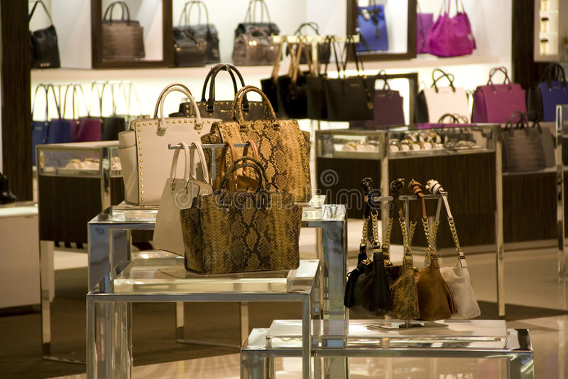 Fashion purse handbag Store stock images