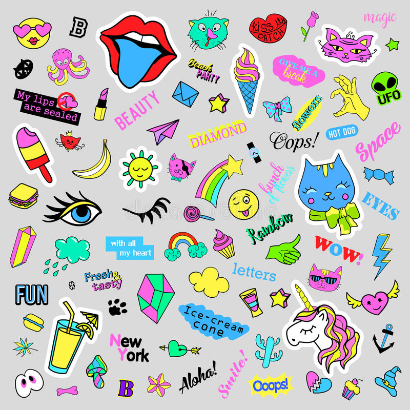 Fashion quirky cartoon doodle patch badges with cute elements. Isolated vector. Set of stickers,pins,patches in comic. Fashion quirky cartoon doodle patch badges royalty free illustration
