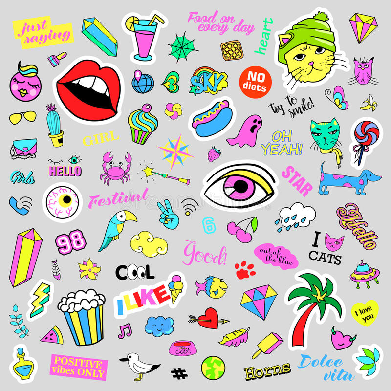 Fashion quirky cartoon doodle patch badges with cute elements. Isolated vector. Set of stickers, pins, patches in comic. Fashion quirky cartoon doodle patch stock illustration