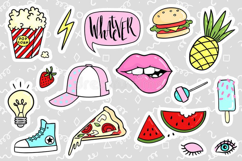 Fashion quirky cartoon doodle patch badges with cute elements. Vector illustration isolated on background. Set of stickers, pins, patches in cartoon comic vector illustration