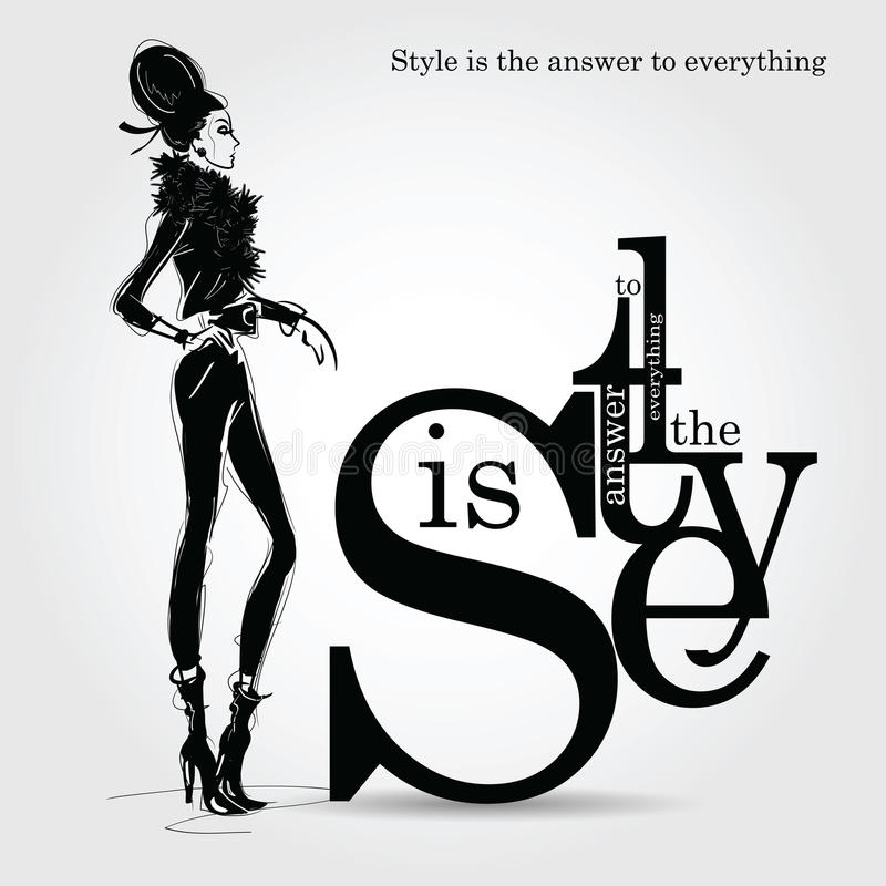 Fashion quote with fashion woman in sketch style. stock illustration