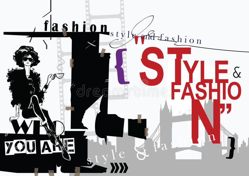 Fashion quote with fashion woman in sketch style. vector illustration