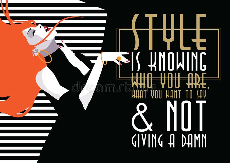 Fashion quote with woman in style pop art. Vector illustration royalty free illustration