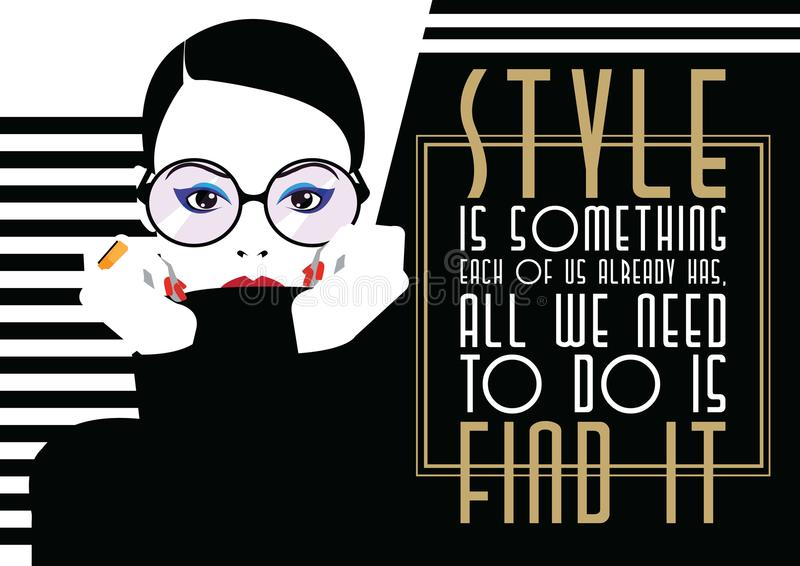 Fashion quote with woman in style pop art. Vector illustration vector illustration