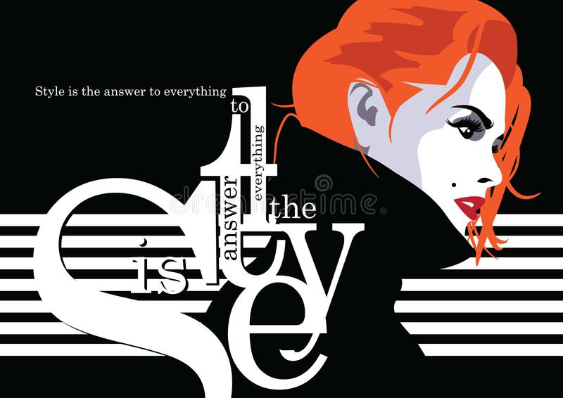 Fashion woman in style pop art. Fashion quote with woman in style pop art. Vector illustration stock illustration