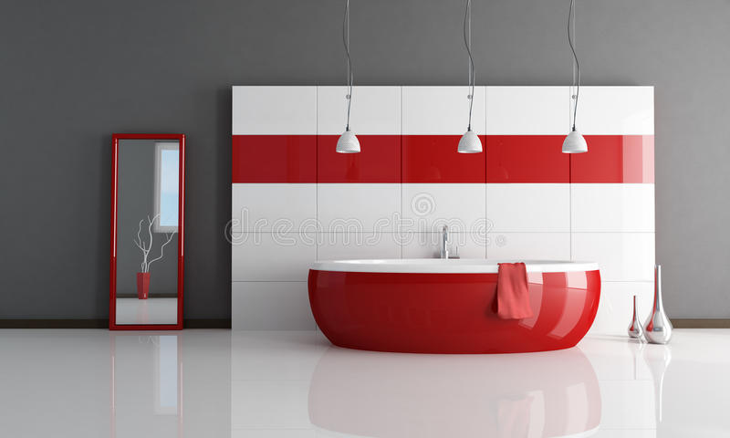 Fashion red and white bathroom stock illustration