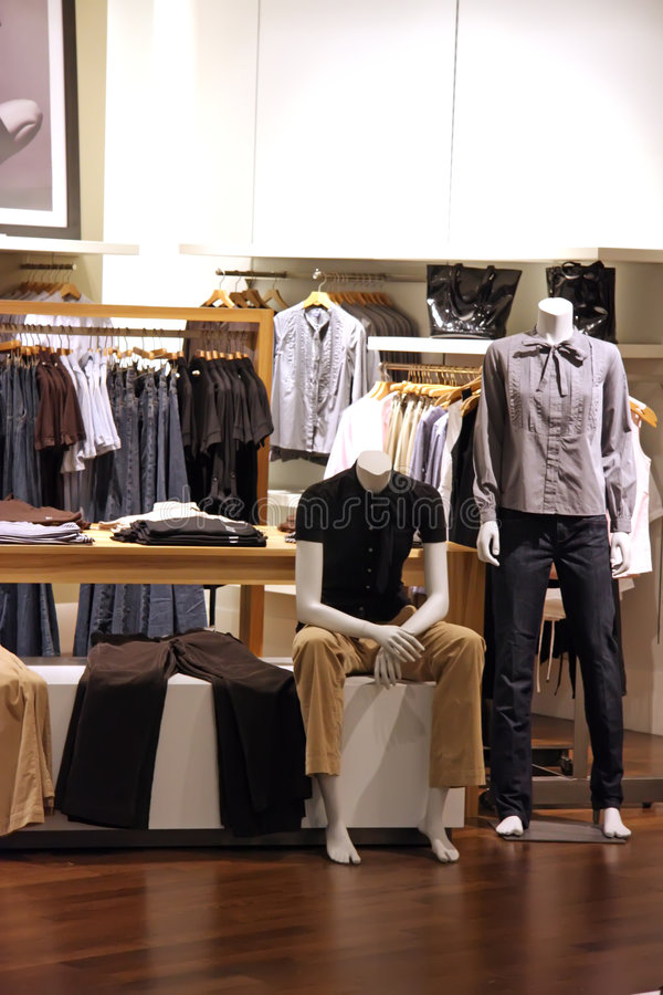 Fashion retail. Fashion clothing retail display clothes for sale stock photo