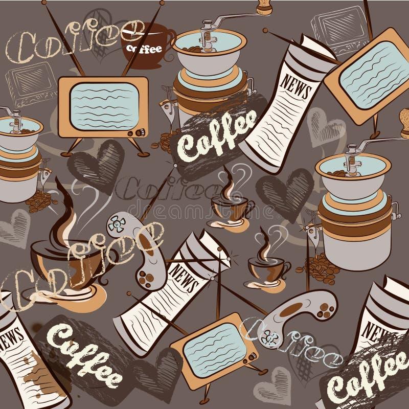 Download Fashion Retro Coffee Pattern For Design Stock Vector - Illustration: 32100429