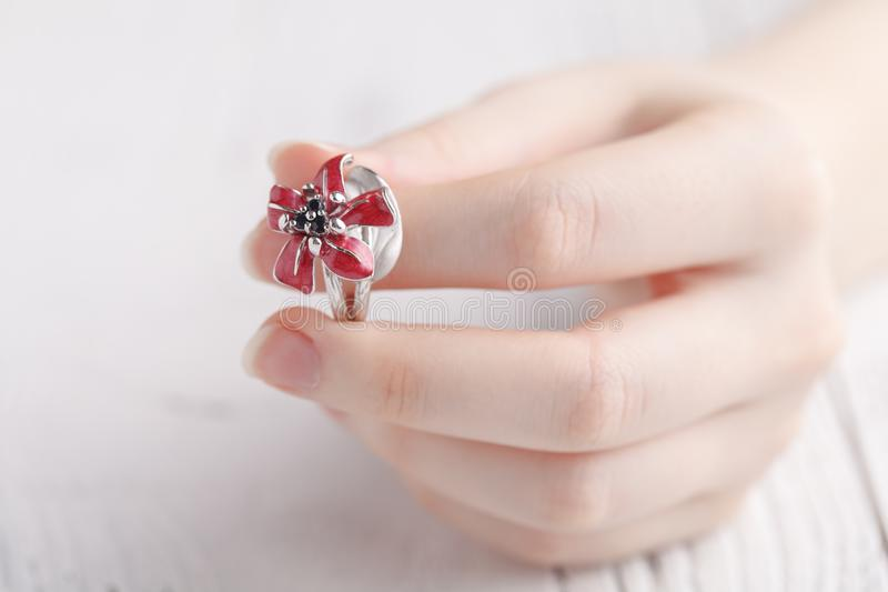 Fashion ring in female hands, close up royalty free stock photos