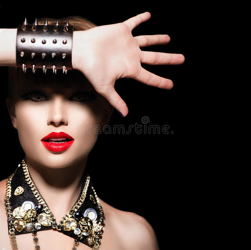 Fashion rocker style portrait royalty free stock image