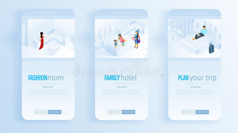 Fashion Room Family Hotel Plan Trip Social Media stock illustration