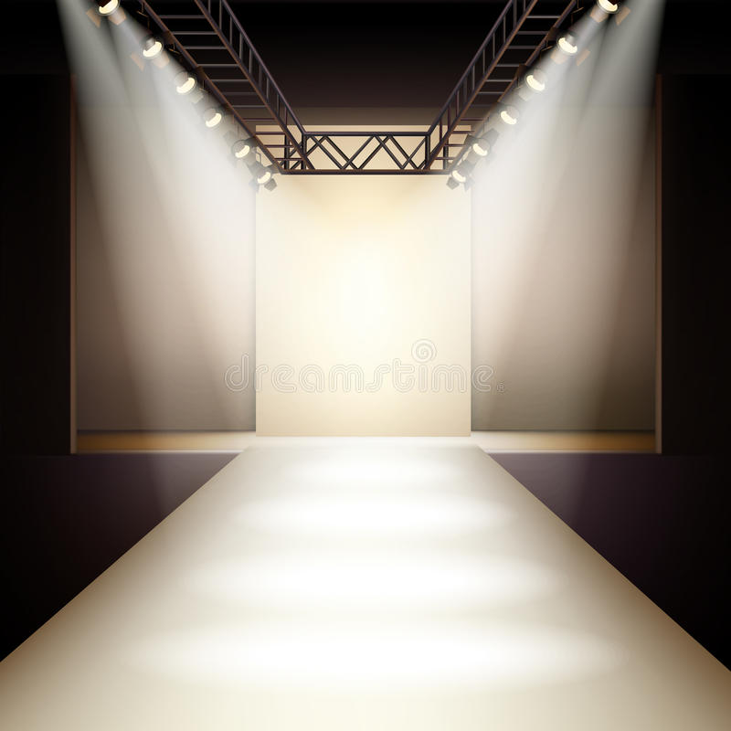 Fashion Runway Background. Empty fashion runway podium stage interior realistic background vector illustration royalty free illustration