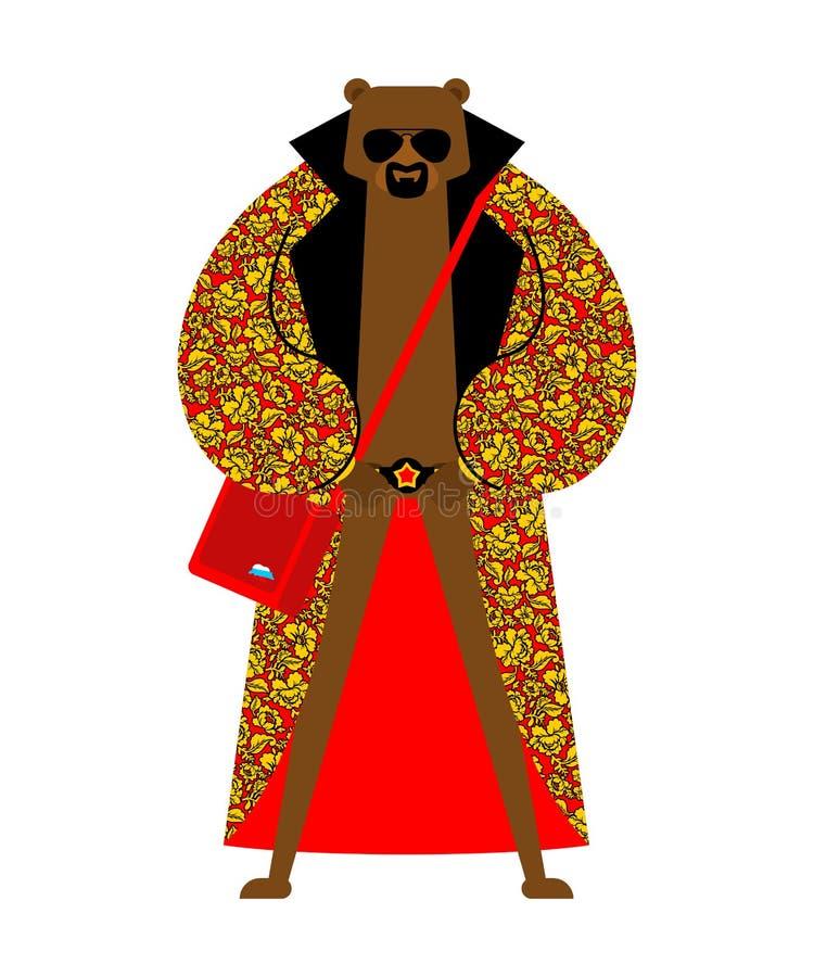 Fashion Russo Bear modelo da trendy Beast Folk Fashionable Russia Animal de moda fresco Traje tradicional de Hipster ilustração royalty free