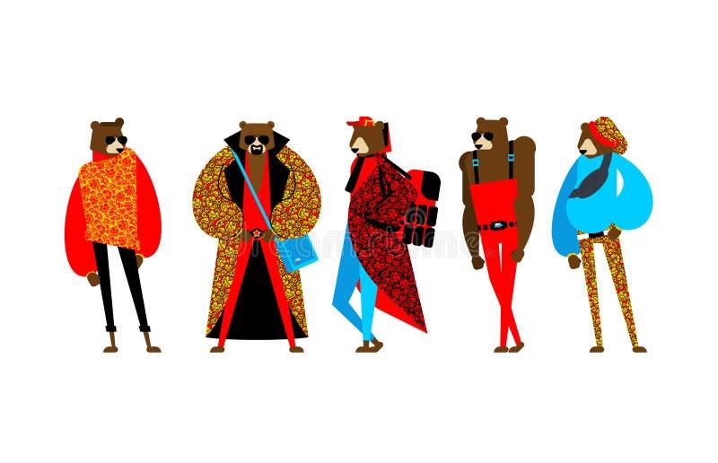 Fashion Russo Bear set modelo da trendy Beast Folk Fashionable Russia Animal de moda fresco Traje tradicional de Hipster ilustração stock