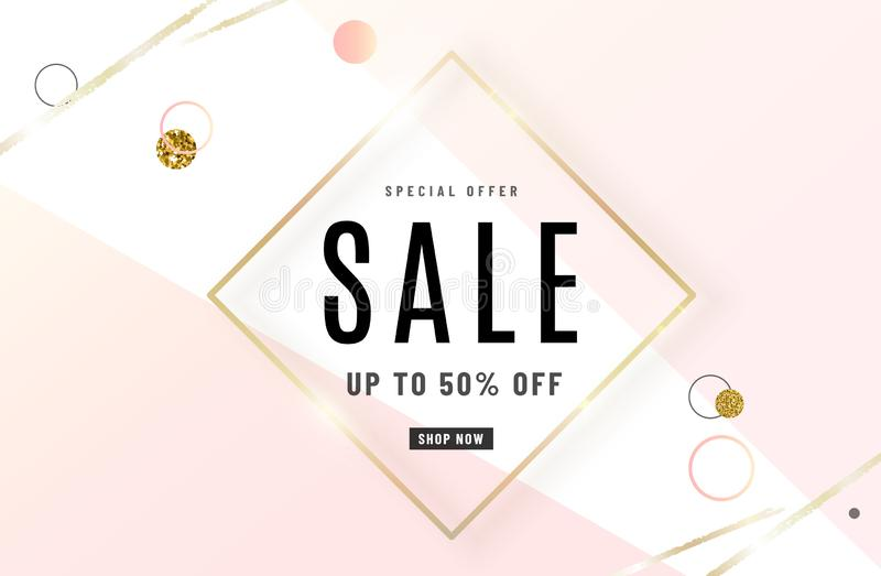 Fashion sale banner design background with gold frame, watercolor golden brush, special offer text, geometric elements stock illustration