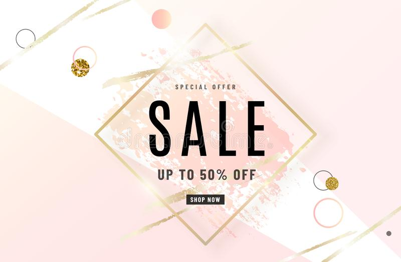 Fashion sale banner design background with gold frame, watercolor rose pink brush, special offer text, geometric royalty free illustration