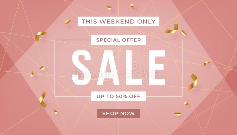 Fashion sale banner design background with gold ribbon promo offer text. Abstract banner template design on pink background. stock illustration