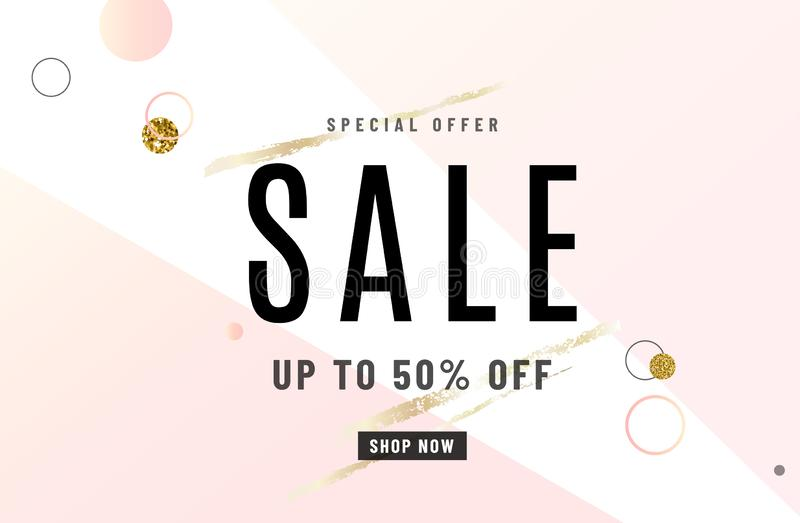 Fashion sale banner design background with gold special promo offer text, geometric dot elements, golden brushes. Up to royalty free illustration