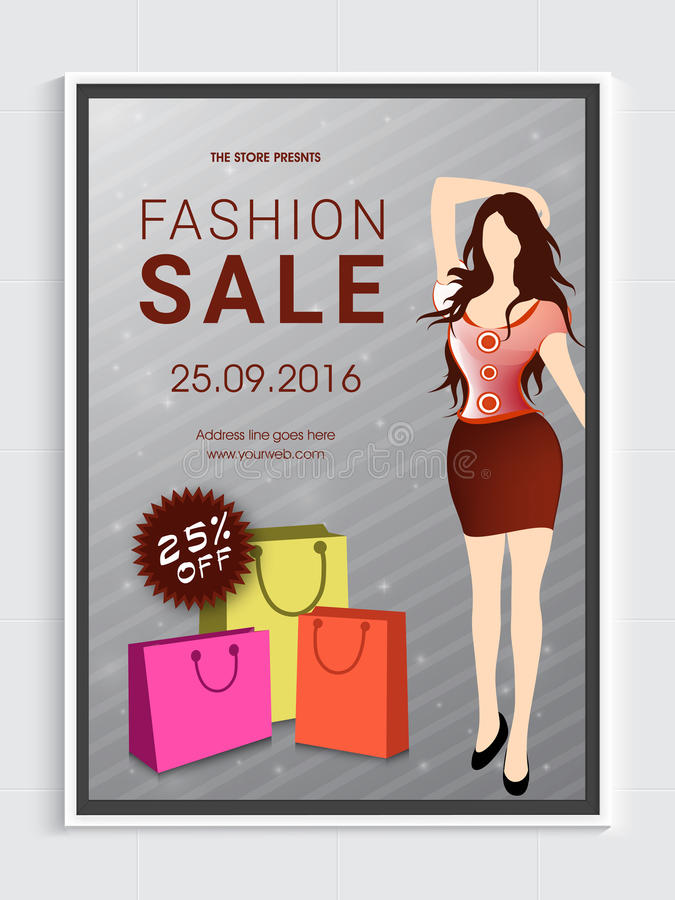 Fashion Sale Flyer or Banner. royalty free illustration