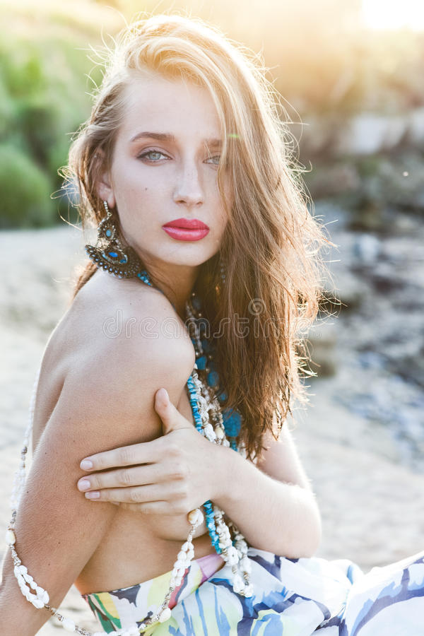 Fashion in the sea royalty free stock photography