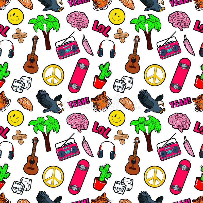 Fashion Seamless Comic Style Background with Brain, Lol, Cactus, Guitar and Palm royalty free illustration