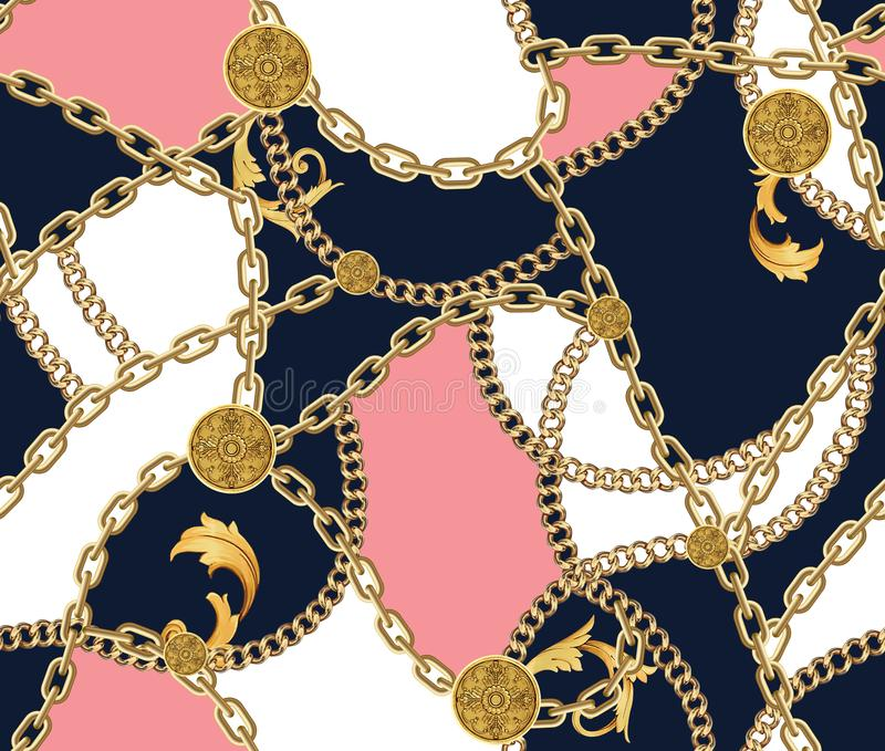 Fashion Seamless Pattern with Golden Chains vector illustration