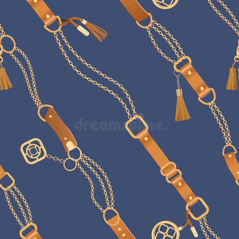 Fashion Seamless Pattern with Golden Chains and Straps. Chain, Braid and jewelry elements Background for Fabric Design. Textile, Wallpaper. Vector illustration royalty free illustration