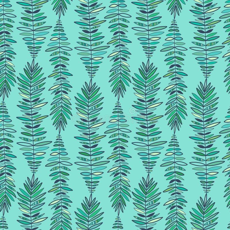Fashion seamless pattern. Modern turquoise background. Feathers pattern for fashion textile print. Boho wallpaper design royalty free illustration