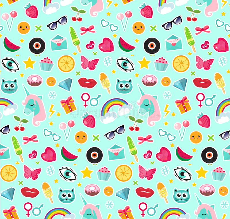 Fashion seamless pattern of patches 80s comic style. Pins, badges and stickers Collection cartoon pop art with a unicorn. Rainbow, lips, emoji. Vector vector illustration