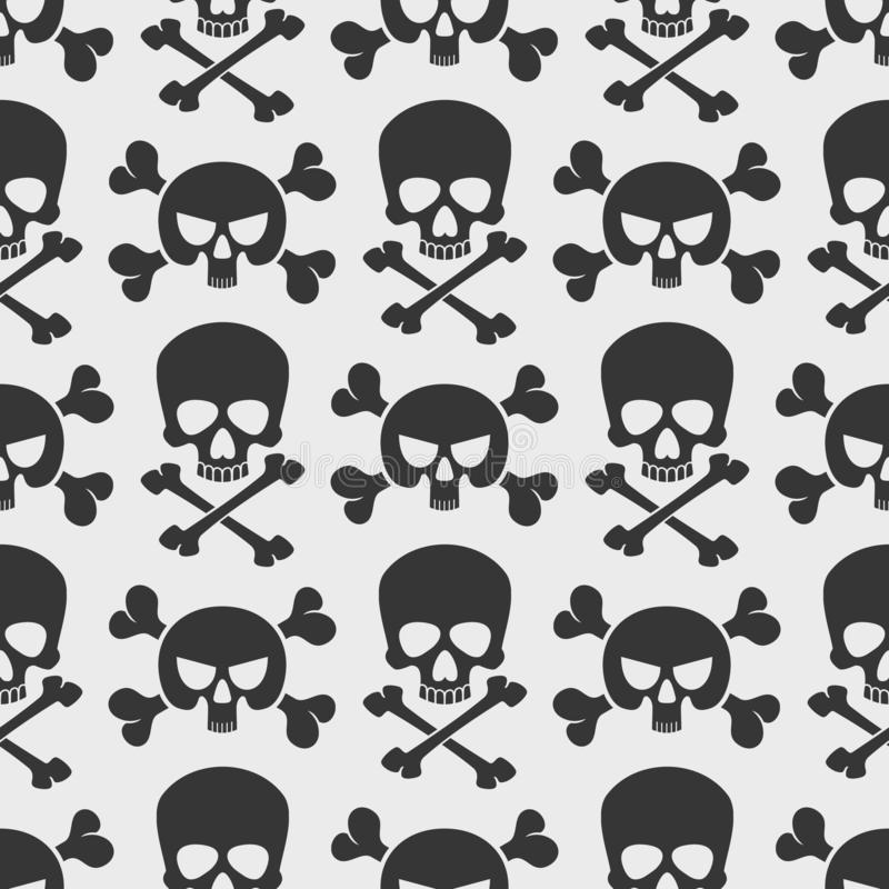 Fashion seamless pattern with skulls and cross bones. Fashion seamless pattern background with skulls and cross bones. Vector illustration royalty free illustration