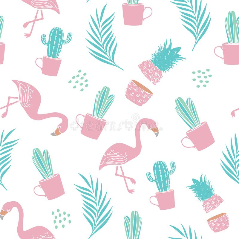 Fashion seamless pattern for textile print with cactus, pineapple, palm leaves and flamingo. trendy summer design vector stock illustration
