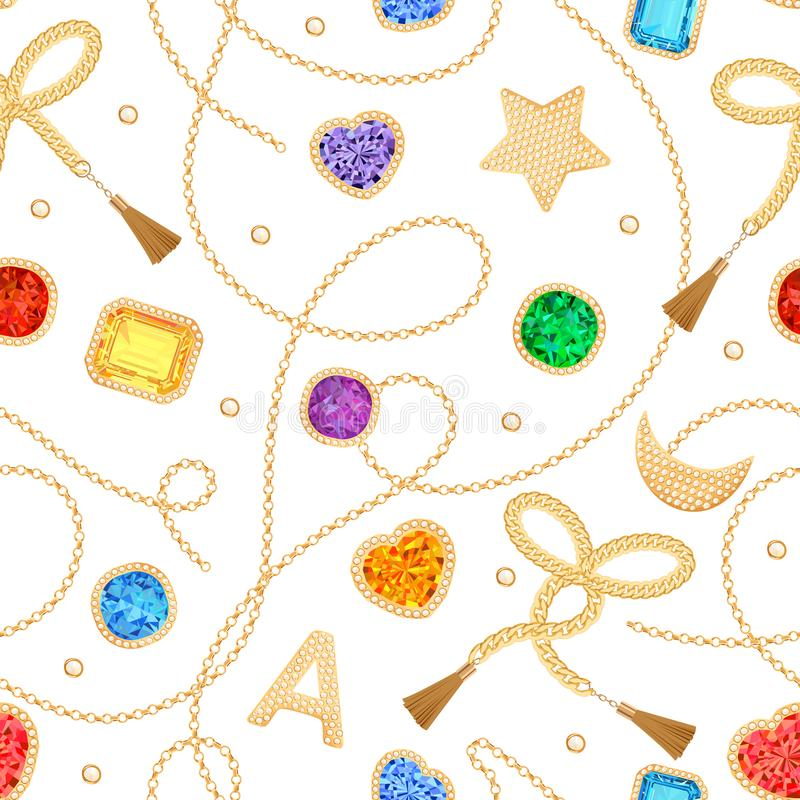 Free Fashion Seamless Pattern With Golden Chains, Straps And Gems. Fabric Design Background With Chain, Gemstones Stock Photography - 137773552