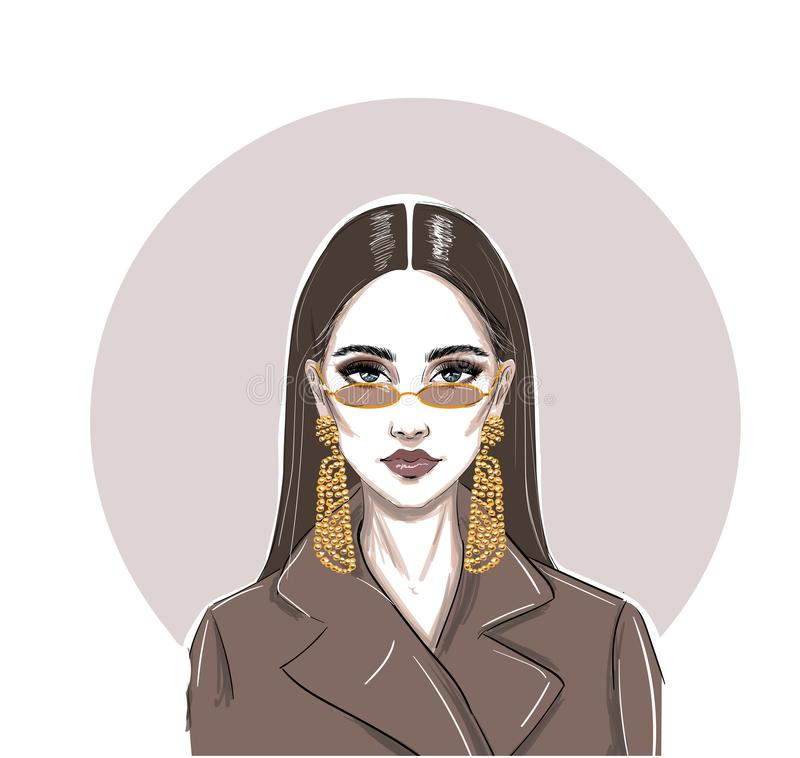 Fashion serious micro glasses woman sketch vector illustration