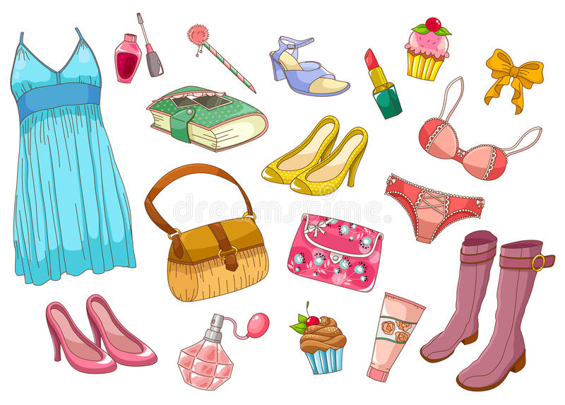 Download Fashion set stock vector. Image of cute, cosmetics, cartoon - 28788817