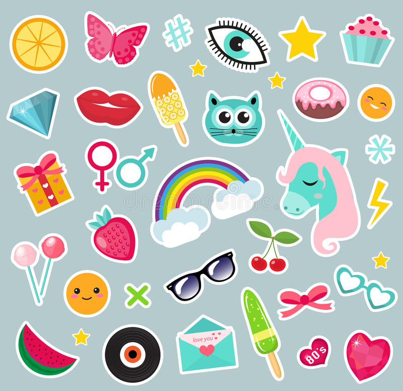 Fashion set of patches 80s comic style. Pins, badges and stickers Collection cartoon stock illustration