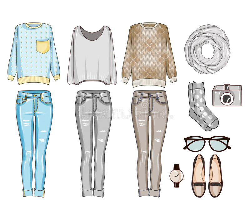 Fashion set of woman's clothes, accessories, and shoes . Casual outfits clip art. Set of woman's clothes, accessories, and shoes . Casual outfits in grey, blue royalty free illustration