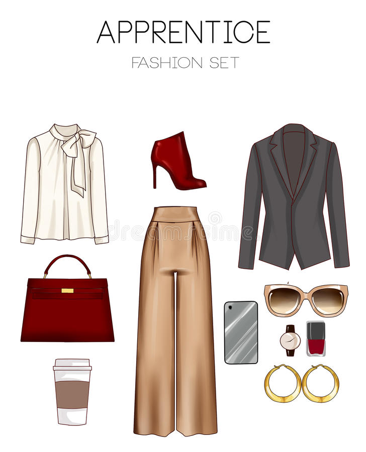 Fashion set of woman's clothes, accessories, and shoes clip art collection royalty free illustration