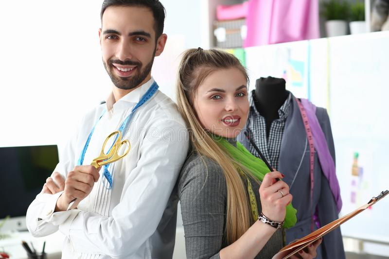 Fashion Sewing or Dressmaking Teamwork Concept stock image