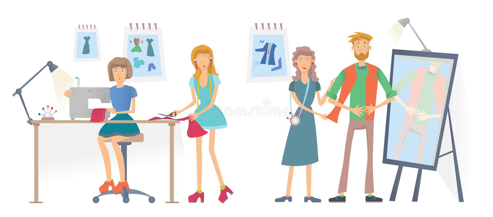 Fashion sewing Studio, Atelier. Women sew clothes with a sewing machine. A man tries on clothes. Vector illustration stock illustration