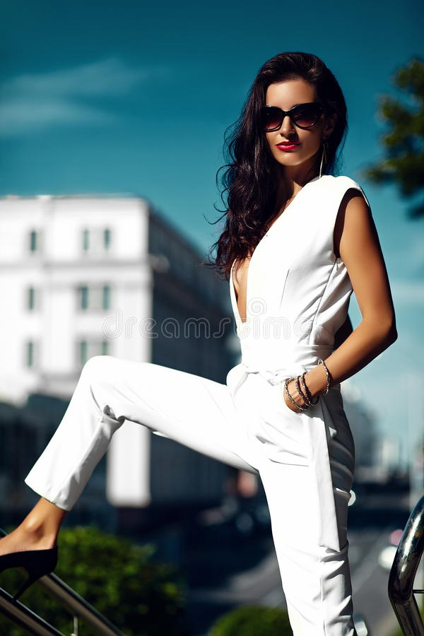 Fashion hot businesswoman in the street stock photos