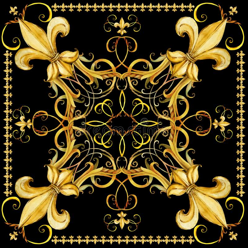 Fashion shawl design. Silk scarf with golden jewelry lace. stock illustration
