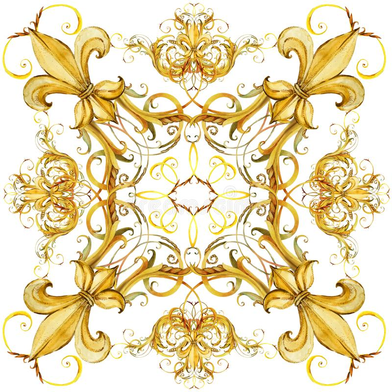 Fashion shawl design. Silk scarf with golden jewelry lace. royalty free illustration