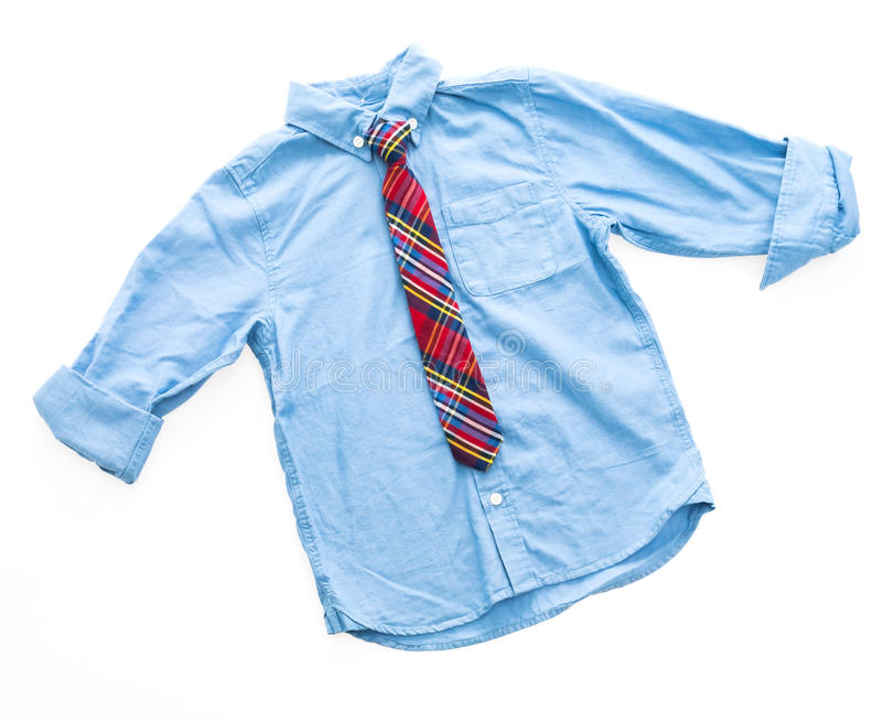Fashion shirt with neck tie. For clothing isolated on white background stock photos