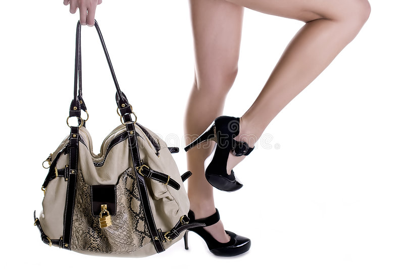 Fashion shoes and bag stock image