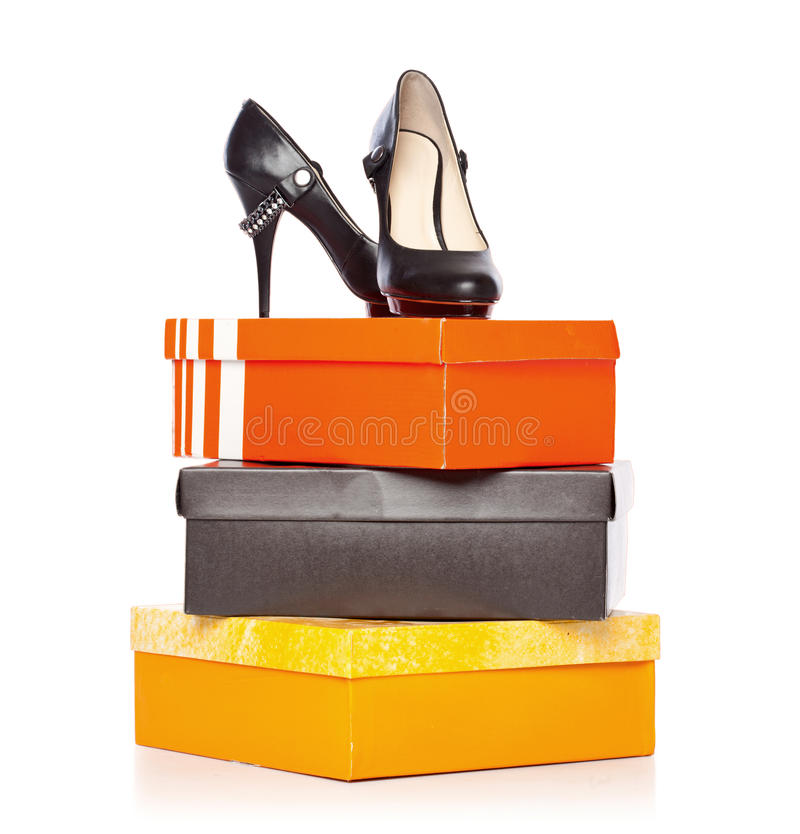 Download Fashion shoes on the boxes stock image. Image of glamour - 20377019