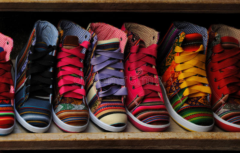 Fashion shoes at the clothing market royalty free stock photography