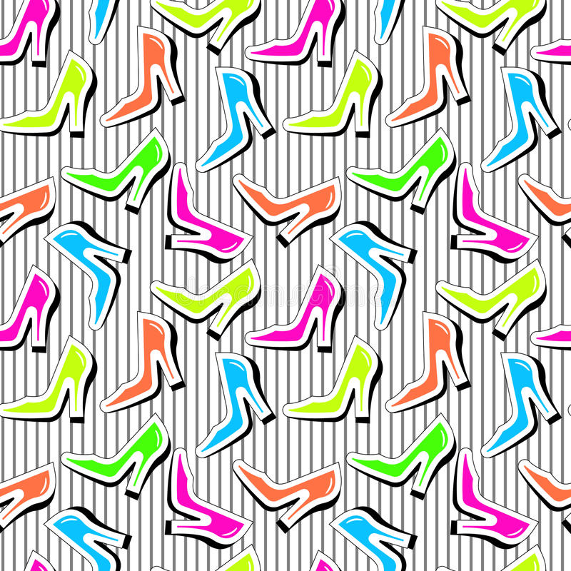 Fashion shoes seamless pattern. Seamless repeating texture with bright color heel shoes stock illustration