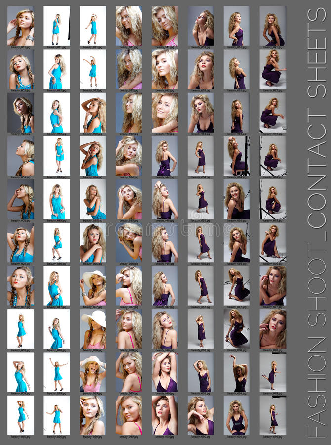 Fashion shoot contact sheet . Contact sheet of a professional fashion shoot for a beautiful blond woman, 80 images, unretouched royalty free stock photo