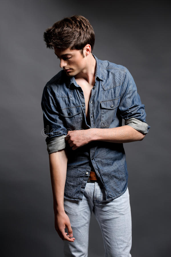 Fashion shoot with male model stock photo