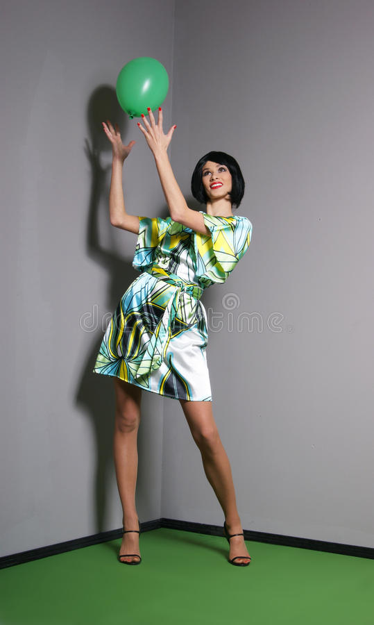 Download Fashion Shoot Of A Young Woman In A Green Dress Stock Photo - Image: 19542786